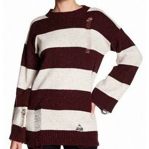 Abound sweater striped distressed pullover